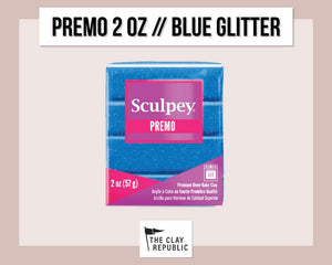 Sculpey Premo 2 oz - Blue Glitter - The Clay Republic