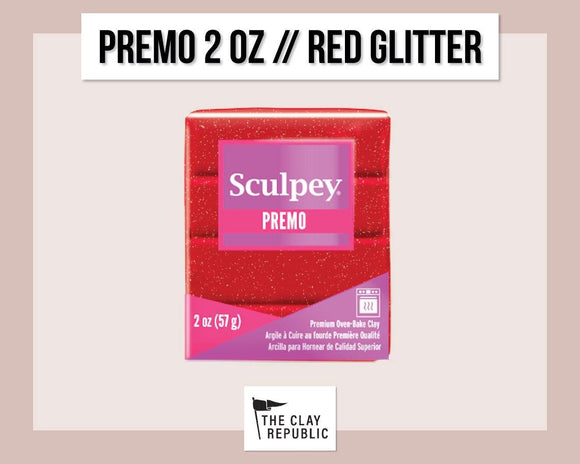 Sculpey Premo 2 oz - Red Glitter - The Clay Republic