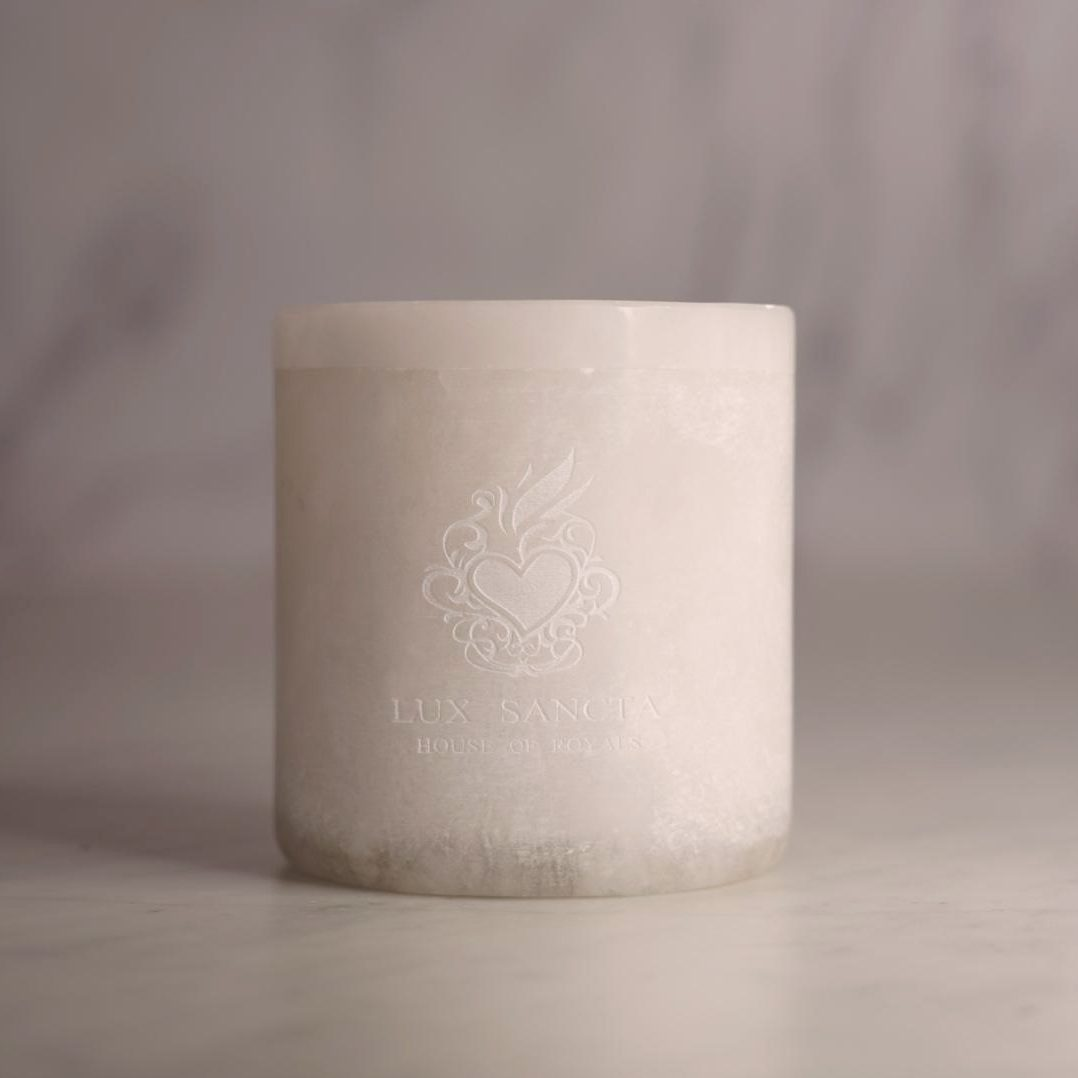 Lux Sancta Raw Alabaster Prayer Candle & Handpoured 100% Beeswax Insert