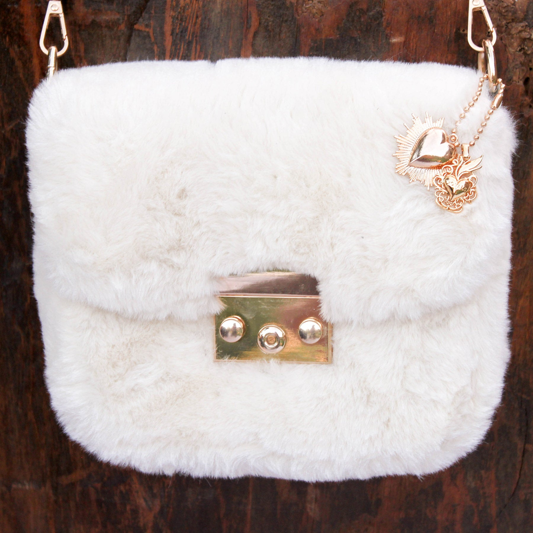 Sacred Heart White Fur and Pearls Mini Crossbody