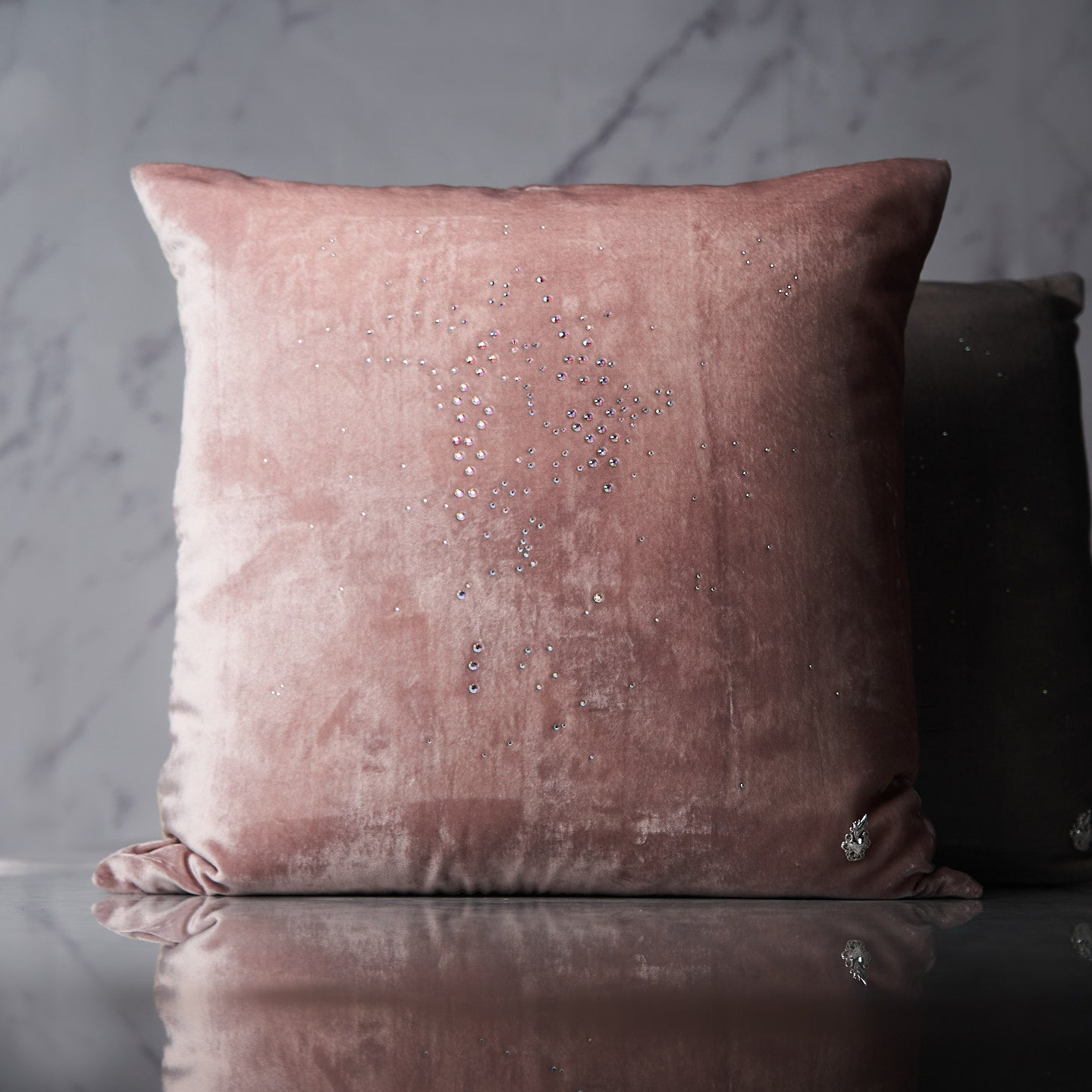 Starlight Rose Swarovski® Crystal Throw Pillow Cover