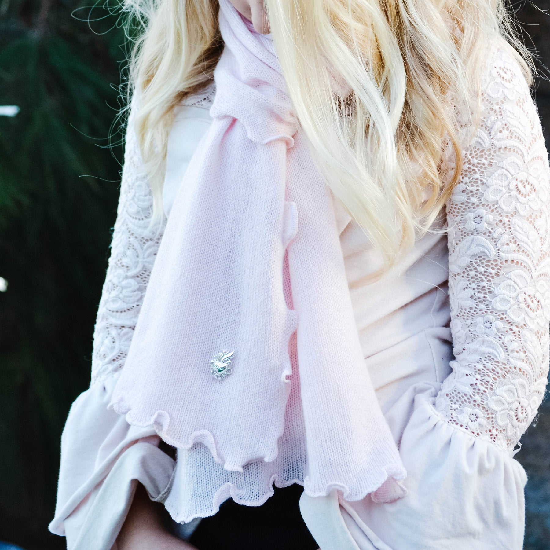 Young Royals Sacred Heart Cashmere Scarf, Ruffle
