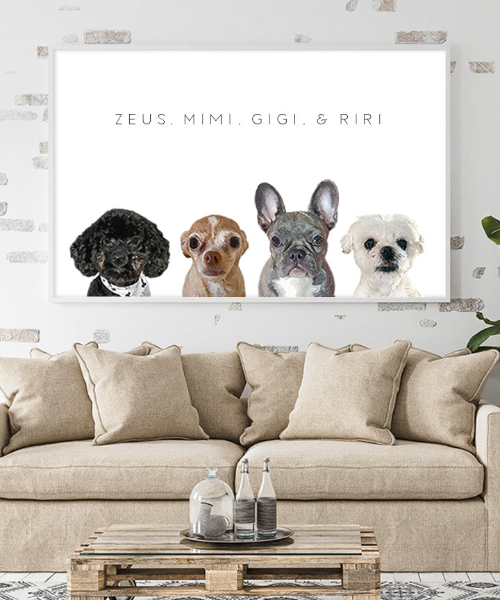 Custom Pet Portrait - Pet Quartet