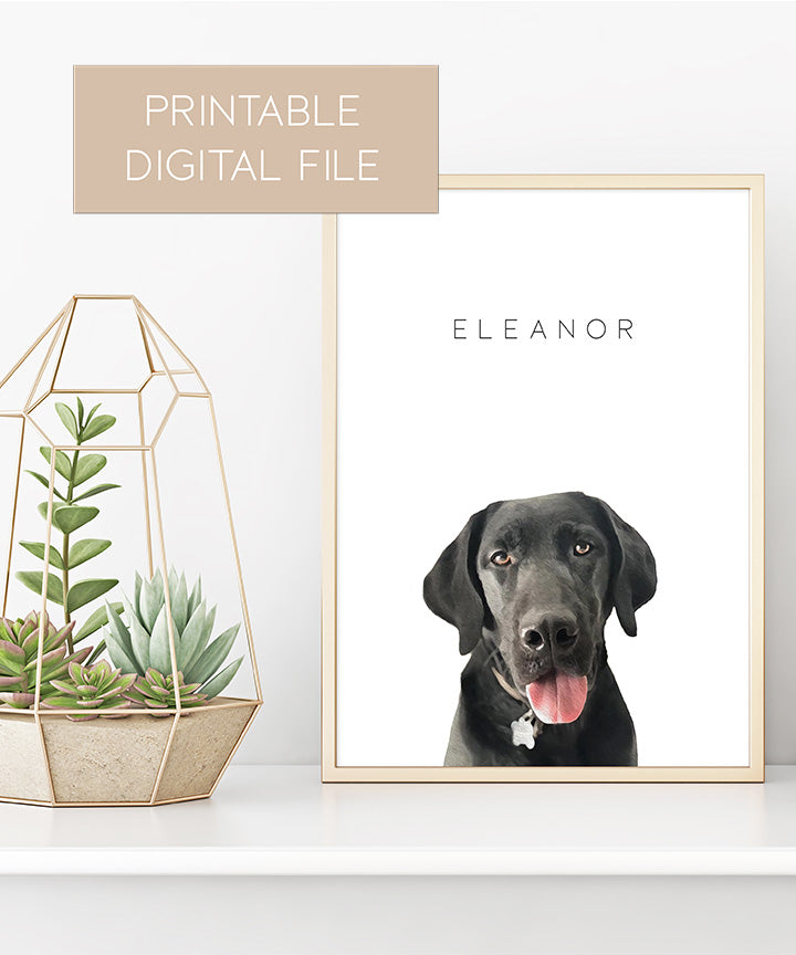 Printable Custom Pet Portrait (Digital File Only - Not a Physical Print)