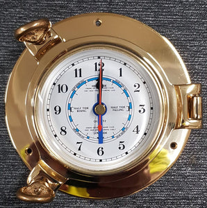 "6"" Porthole Opening Brass Time and Tide Clock"