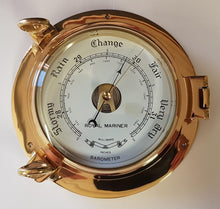 "Load image into Gallery viewer, 9"" Porthole Opening Brass Barometer"