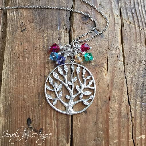 Silver Cz Tree Of Life Family Long Necklace Add