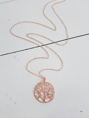 Rose Gold Cz Family Tree Long Necklace Add Birthstone Charms Jewelz By Angie