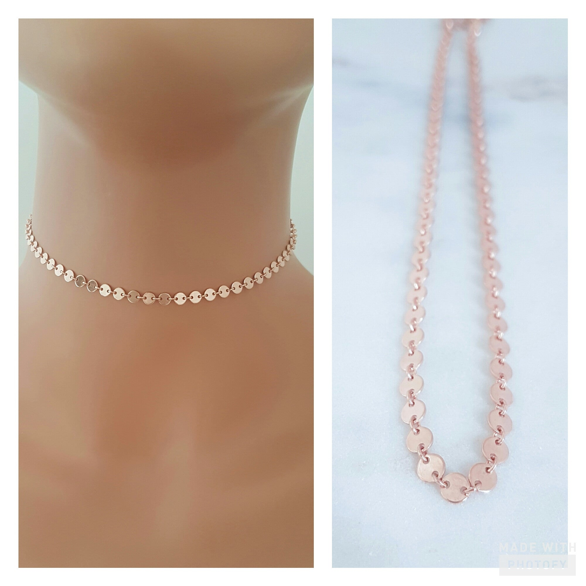 8d50e177d Rose Gold Disc Choker // Tattoo Style Necklace // Celebrity Style *CHO -  Jewelz by Angie