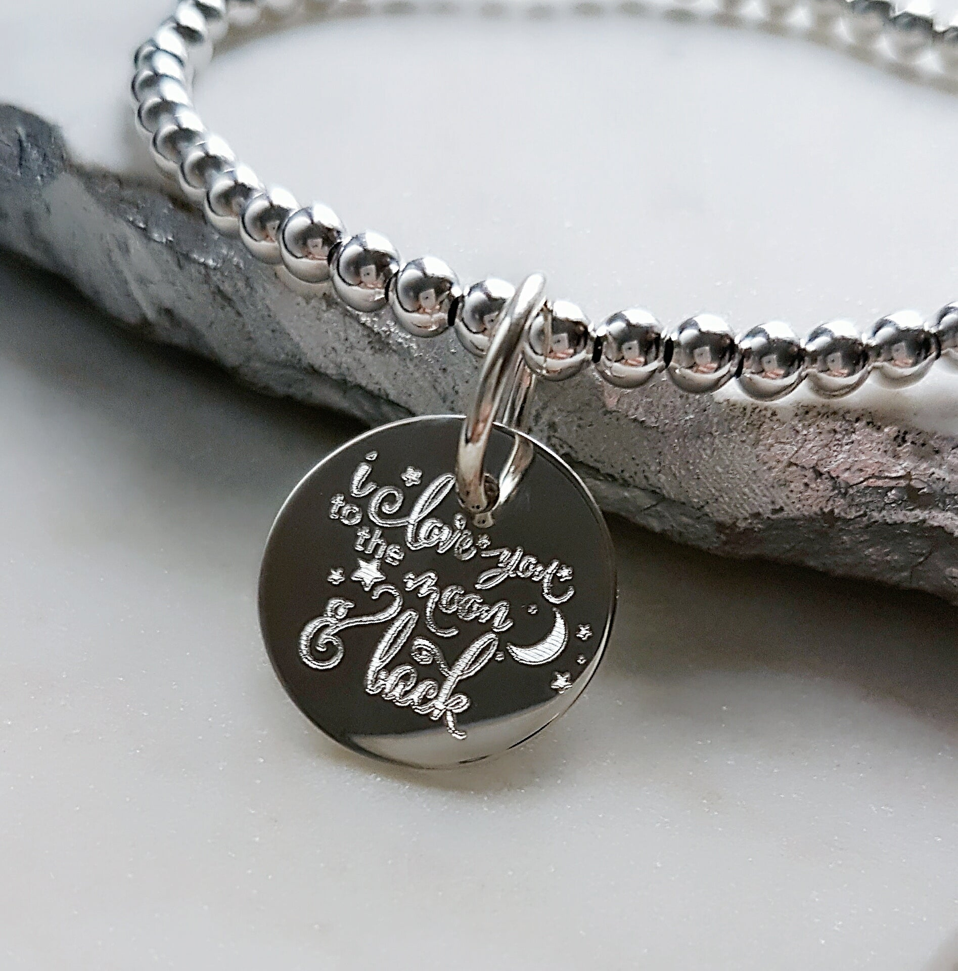 e8970662339 I love you to the moon and back Large Disc Bracelet - Jewelz by Angie