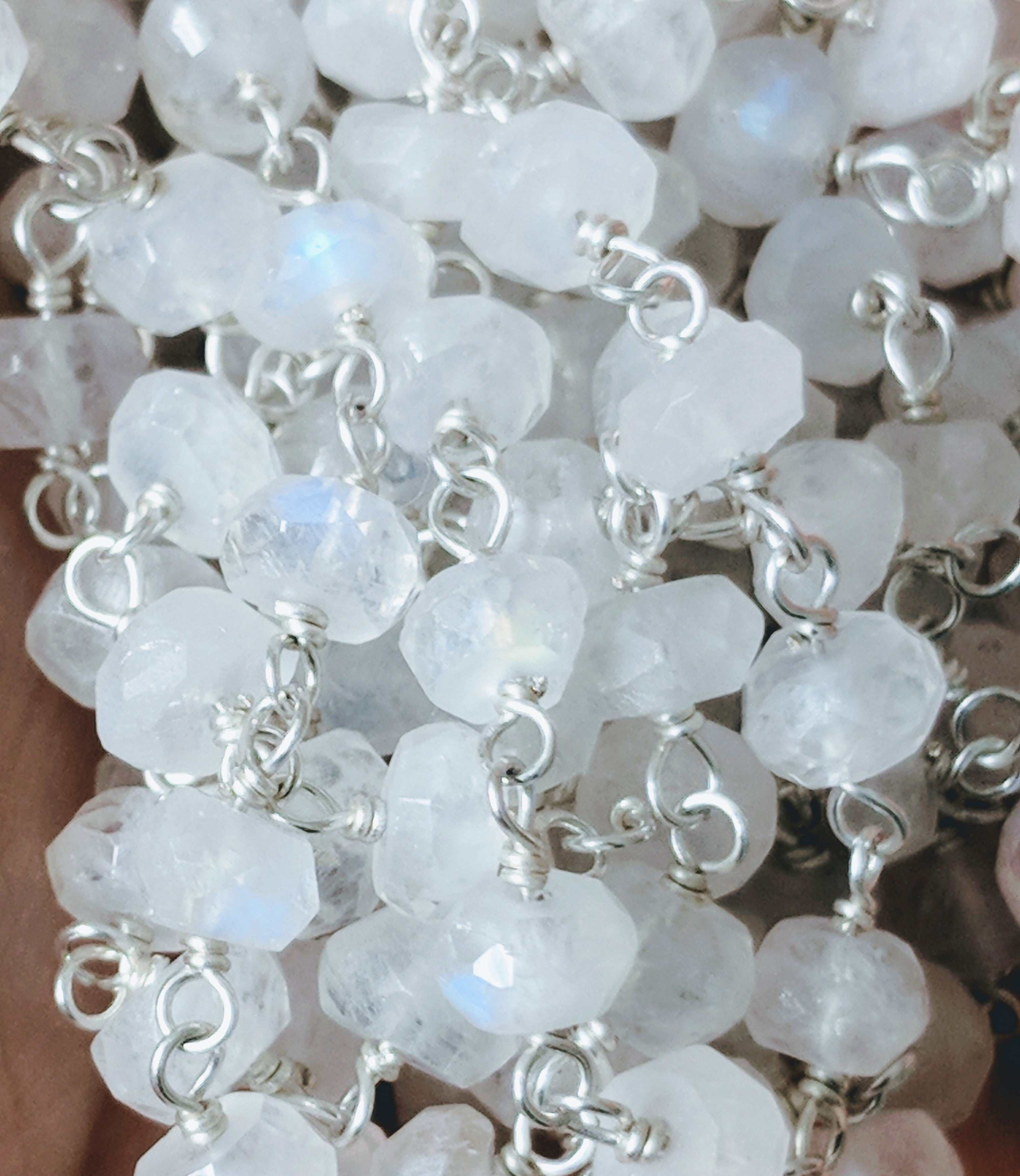 Sterling Silver Wire Wrap Rainbow Moonstone Gemstone Chain *Must ...