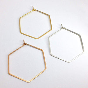 Creolen - HEXAGON, L goldfilled