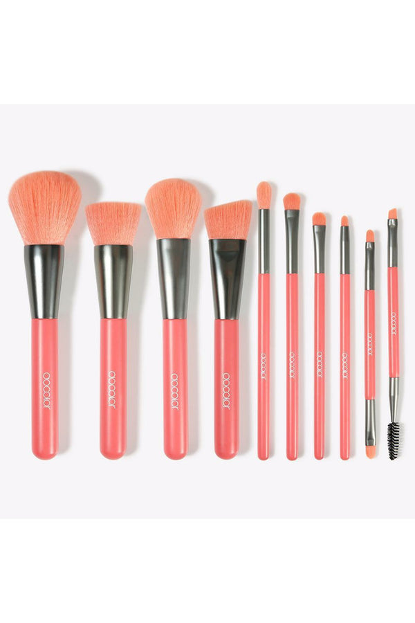 Neon Peach 10pce Brush Set