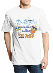"City of Los Angeles ""Champions"" Lakers x Dodgers Vintage Tee (White)"