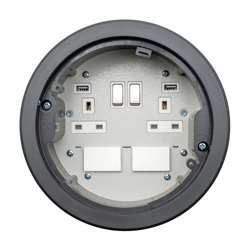 169mm Standard Power Grommet 2 USB 2 Data Spaces