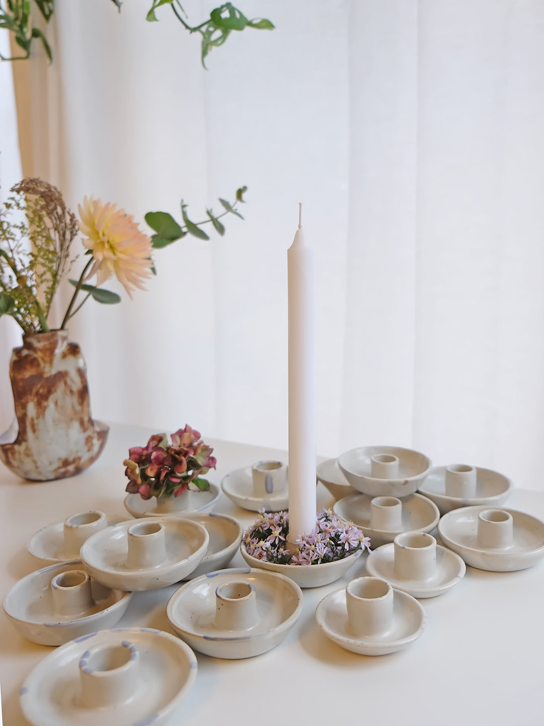 Blomma Tapered Candle Holders - 4 dots