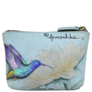 ANUSCHKA 1031 SMALL ZIP POUCH  Rainbow Birds