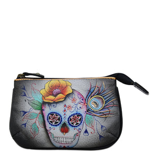 ANUSCHKA 1107 MEDIUM ZIP POUCH Day of the Dead