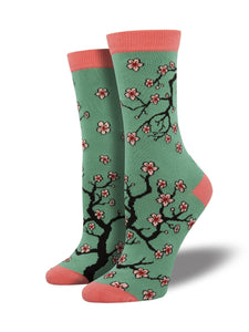 SOCKSMITH CHERRY BLOSSOMS JADE GREEN WOMENS