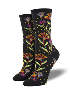 SOCKSMITH WOMENS LAUREL BURCH WILDFLOWERS Black