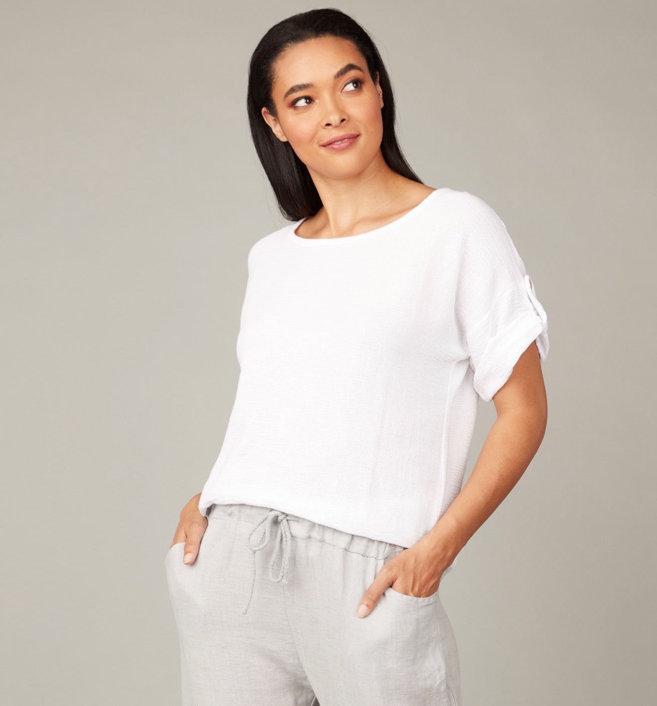 Classic Summer Gauze Top White