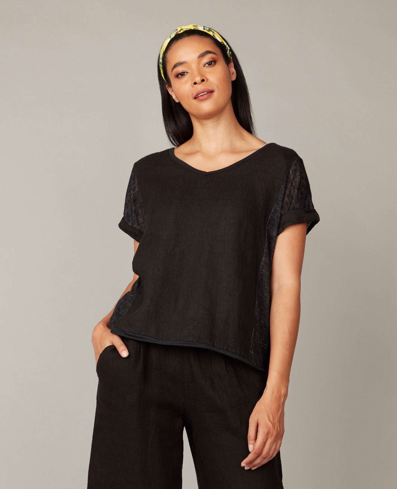 Essential Summertime Linen and Woven Top Black