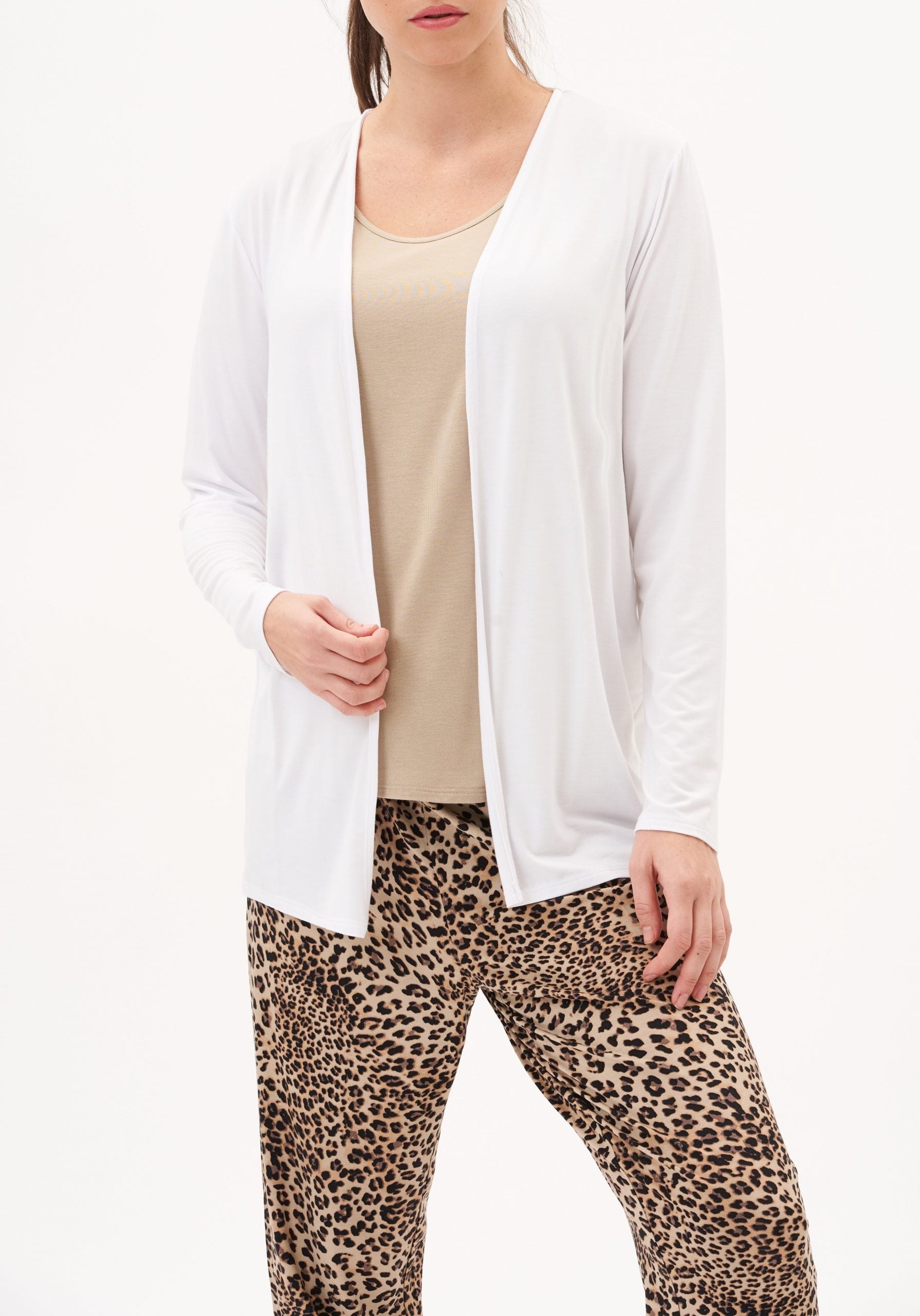 Bamboo Open Cardigan White