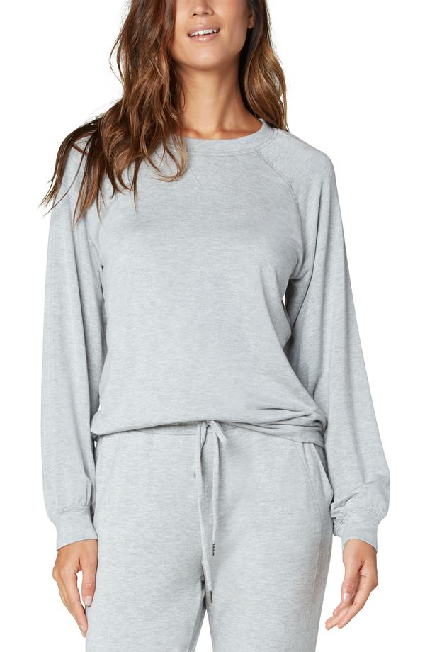 SOFT PULLOVER CREW NECK RAGLAN SLEEVE SWEATSHIRT Light Heather Grey