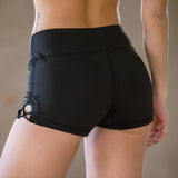 Women's Side Open Stitch Shorts - Black