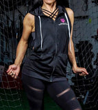 Women's MM Sleeveless Zip Up Hoodie - Black/Pink