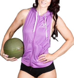 Women's MM Sleeveless Zip Up Hoodie - Purple