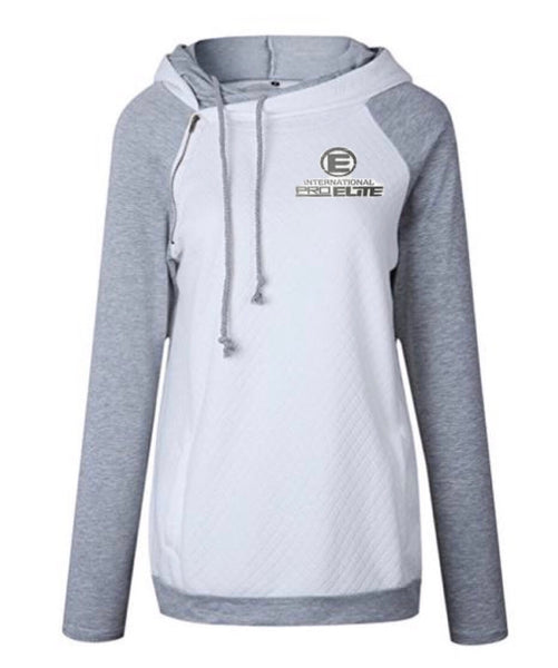 *NEW - LIMITED EDITION*-  International Pro Elite (IPE)  Double Hoodie - White / Silver Logo