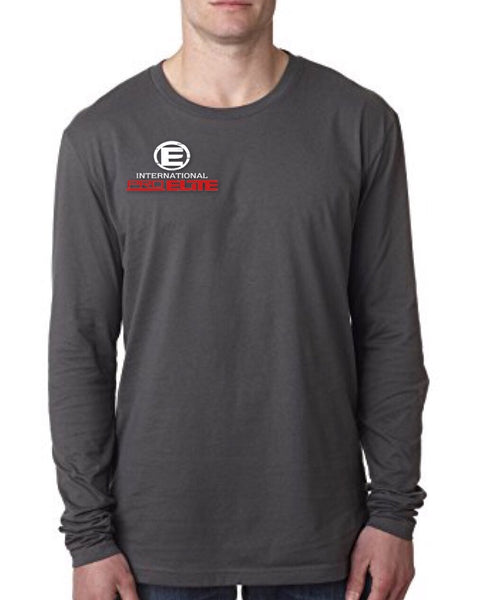 *NEW - International Pro Elite (IPE) UNISEX Long Sleeve T-Shirt – Charcoal with Red/White Logo - SOLD OUT