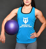 Women's Muscle Motivation Racerback Tank Top - Turquoise