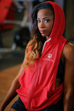 *New- International Pro Elite (IPE) Women's MM Sleeveless Zip Up Hoodie - Red
