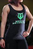 Women's Muscle Motivation Racerback Tank Top - Black/Green