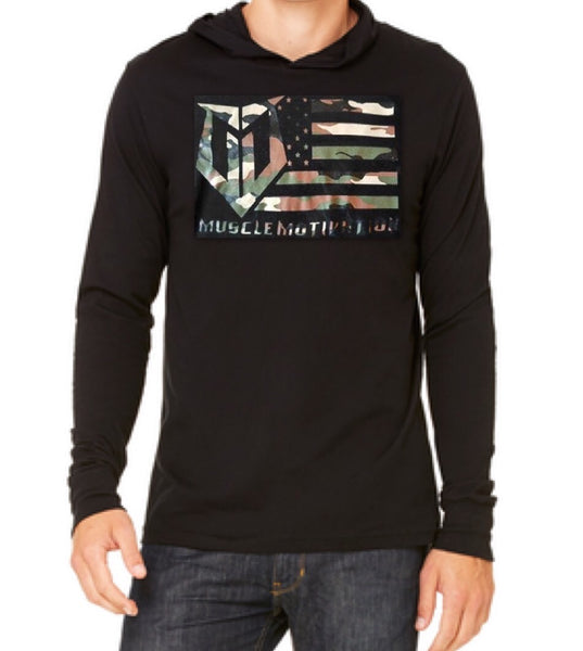 Muscle Motivation Camo Flag Hoodie – Black