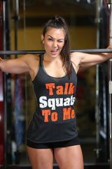 Women's Talk Squats To Me Tri-Blend Racerback Tank Top - Black