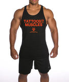 Men's Tattoos And Muscles Stringer Tank Top - Black/Red