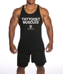 Men's Tattoos And Muscles Stringer Tank Top - Black