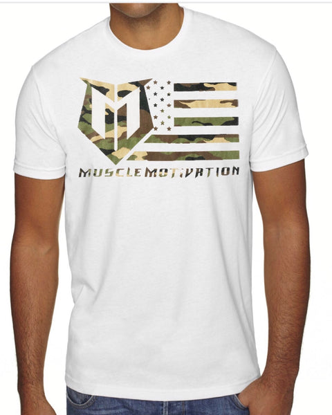 *New - Muscle Motivation Camo Flag T-Shirt – White