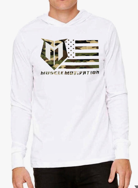 *New - Muscle Motivation Camo Flag Hoodie – White