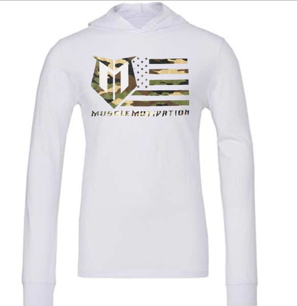 *NEW - Muscle Motivation Camo Flag Hoodie - White