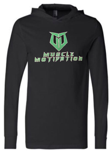 *NEW - Muscle Motivation Light Weight Cotton Hoodie - Black with Green Logo