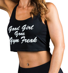 Women's Good Girl Gone Gym Freak CROP Tank - Black