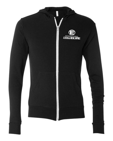 ***ALL SIZES BACK IN STOCK***International Pro Elite (IPE)blend Tri- Full-Zip Lightweight Hoodie - Black