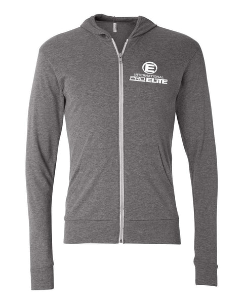 International Pro Elite (IPE) Unitsex Tri-blend Full-Zip Lightweight Hoodie - Grey