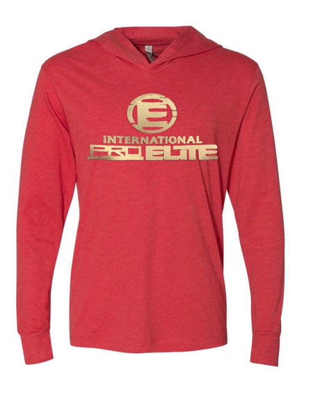 *New - nternational Pro Elite (IPE) Unitsex Tri-blend Pullover Lightweight Hoodie - Red with Gold Logo