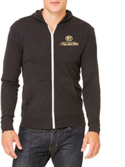 *New - International Pro Elite (IPE) Unitsex Tri-blend Full-Zip Lightweight Hoodie - Charcoal Grey with Gold Foil Logo
