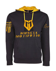 *New* Men's Muscle Motivation Steel Flag Hoodie – Yellow/Black